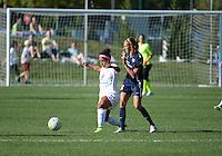 Kansas City, MO - Sunday September 04, 2016: Desiree Scott, Taylor Lytle during a regular season National Women's Soccer League (NWSL) match between FC Kansas City and the Sky Blue FC at Swope Soccer Village.