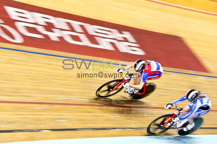 Picture by Alex Whitehead/SWpix.com - 27/09/2013 - Cycling - British National Track Championships 2013 - Day 3 - National Cycling Centre, Manchester, England - Dannielle Khan of Solihull CC (top) in action during the Women's Sprint.