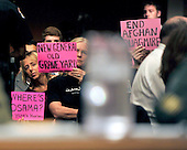 Code Pink protestors during the testimony of General David H. Petraeus, U.S. Army, before the United States Senate Armed Services Committee on his nomination to be commander of the International Security Assistance Force and commander of the United States Forces in Afghanistan in Washington, D.C. on Tuesday, June 29, 2010.