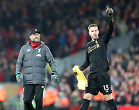 30th November 2019; Anfield, Liverpool, Merseyside, England; English Premier League Football, Liverpool versus Brighton and Hove Albion; Liverpool manager Jurgen Klopp with substitute Liverpool goalkeeper Adrian at the end of the match  - Strictly Editorial Use Only. No use with unauthorized audio, video, data, fixture lists, club/league logos or 'live' services. Online in-match use limited to 120 images, no video emulation. No use in betting, games or single club/league/player publications