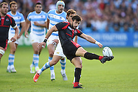 Lasha Malaguradze of Georgia puts boot to ball. Rugby World Cup Pool C match between Argentina and Georgia on September 25, 2015 at Kingsholm Stadium in Gloucester, England. Photo by: Patrick Khachfe / Onside Images