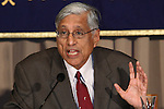 May 14, 2010 - Tokyo, Japan - Rajmohan Gandhi, Peace Activist and Grandson of Mahatma Gandhi answers journalists' questions during a press conference at the Foreign Correspondents' Club of Japan, Tokyo on May 14, 2010. Gandhi is on a six-day visit in Japan during which he met Prime Minister Yukio Hatoyama, Member of the Diet Yukihisa Fujita and President of IofC Japan Hironori Yano. Talks are expected to include peace, environmental, economic and social challenges.