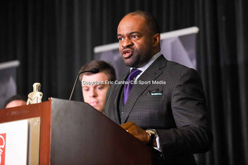 Thursday, February 4, 2016: DeMaurice Smith executive director of the NFLPA answers questions during National Football League Player's Association press conference at the Moscone Center in San Francisco, California. Eric Canha/CSM