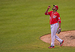 27 July 2013: Washington Nationals pitcher Rafael Soriano gives thanks after closing out a game against the New York Mets at Nationals Park in Washington, DC. The Nationals defeated the Mets 4-1. Mandatory Credit: Ed Wolfstein Photo *** RAW (NEF) Image File Available ***