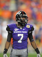 Jan. 4, 2010; Glendale, AZ, USA; TCU Horned Frogs cornerback Greg McCoy against the Boise State Broncos in the 2010 Fiesta Bowl at University of Phoenix Stadium. Boise State defeated TCU 17-10. Mandatory Credit: Mark J. Rebilas-