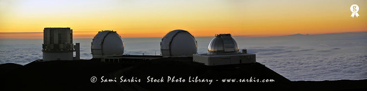 W.M. Keck Observatory at sunset, panoramic (Licence this image exclusively with Getty: http://www.gettyimages.com/detail/84430556 )
