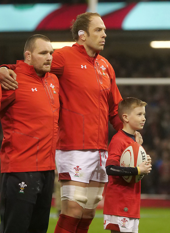 Wales' Alun Wyn-Jones lines up for the National anthems <br /> <br /> Photographer Ian Cook/CameraSport<br /> <br /> Under Armour Series Autumn Internationals - Wales v South Africa - Saturday 24th November 2018 - Principality Stadium - Cardiff<br /> <br /> World Copyright © 2018 CameraSport. All rights reserved. 43 Linden Ave. Countesthorpe. Leicester. England. LE8 5PG - Tel: +44 (0) 116 277 4147 - admin@camerasport.com - www.camerasport.com