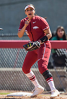 NWA Democrat-Gazette/BEN GOFF @NWABENGOFF<br /> Ashley Diaz, Arkansas first baseman, reacts after a close play at first in the 4th inning vs South Carolina Sunday, March 17, 2019, at Bogle Park in Fayetteville.