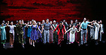 "Devin Haw, Katie Rose Clarke, Alistair Brammer, Jon Jon Briones, Eva Noblezada, Nicholas Christopher Rachelle Ann Go and cast during The Opening Night Curtain Call Bows for the New Broadway Production of ""Miss Saigon"" at the Broadway Theatre on March 23, 2017 in New York City"