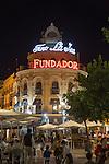 El Gallo Azul rotunda building cafe built in 1929 advertising Fundador brandy, Jerez de la Frontera, Spain
