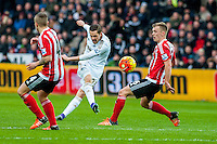 Gylfi Sigurdsson of Swansea City  takes a missed shot on goal during the Barclays Premier League match between Swansea City and Southampton  played at the Liberty Stadium, Swansea  on February 13th 2016