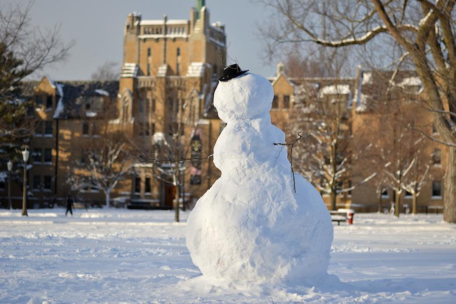 Jan. 22, 2013; Snowman on South Quad...Photo by Matt Cashore/University of Notre Dame