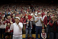 NWA Democrat-Gazette/CHARLIE KAIJO Indiana Hoosiers fans cheer before the first half of the NCAA National Invitation Tournament, Saturday, March 23, 2019 at the Simon Skjodt Assembly Hall at the University of Indiana in Bloomington, Ind. The Arkansas Razorbacks fell to the Indiana Hoosiers 63-60.