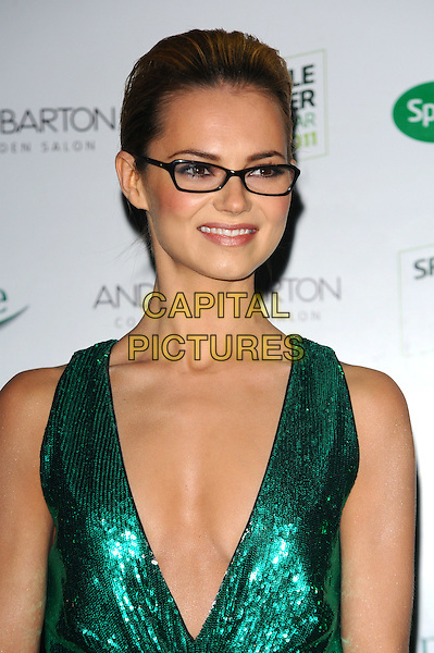 Kara Tointon.Outside Arrivals Specsavers Spectacle Wearer of the Year Awards 2011 at Battersea Power Station, London, England..November 15th, 2011.headshot portrait green sleeveless dress plunging neckline glasses cleavage   sequins sequined .CAP/CJ.©Chris Joseph/Capital Pictures.