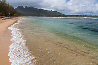 Anahola Beach backed by mountains, Kawaihau district of Kaua'i.