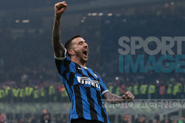 Matias Vecino of Inter celebrates after the final whistle of the Serie A match at Giuseppe Meazza, Milan. Picture date: 9th February 2020. Picture credit should read: Jonathan Moscrop/Sportimage