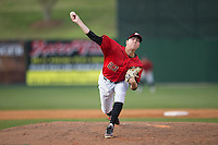 Kannapolis Intimidators relief pitcher Matt Ball (23) delivers a pitch to the plate against the Hickory Crawdads at Kannapolis Intimidators Stadium on April 10, 2016 in Kannapolis, North Carolina.  The Intimidators defeated the Crawdads 10-3.  (Brian Westerholt/Four Seam Images)