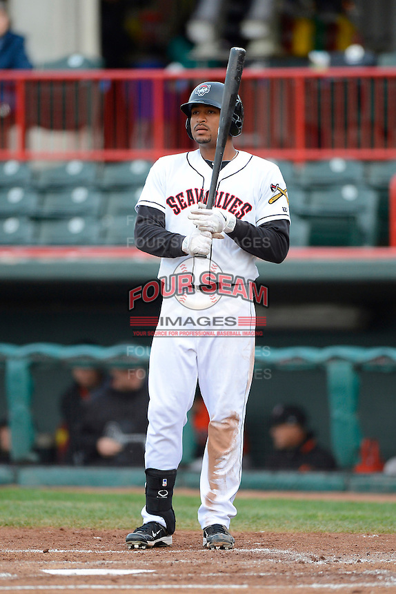 Erie Seawolves outfielder Daniel Fields #7 during a game against the Erie Seawolves on April 23, 2013 at Jerry Uht Park in Erie, Pennsylvania.  Erie defeated Bowie 4-1.  (Mike Janes/Four Seam Images)