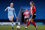 Emma Follis of Aston Villa and Katie Wilkinson of Sheffield United during the The FA Women's Championship match at the Proact Stadium, Chesterfield. Picture date: 12th January 2020. Picture credit should read: James Wilson/Sportimage