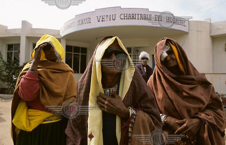 Cataract patients outside Venu satellite eye hospital.