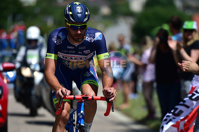 Breakaway man Guillaume Van Keirsbulck (BEL) Wanty-Groupe Gobert in action during Stage 4 of the 104th edition of the Tour de France 2017, running 207.5km from Mondorf-les-Bains, Luxembourg to Vittel, France. 4th July 2017.<br /> Picture: ASO/Alex Broadway | Cyclefile<br /> <br /> <br /> All photos usage must carry mandatory copyright credit (&copy; Cyclefile | ASO/Alex Broadway)