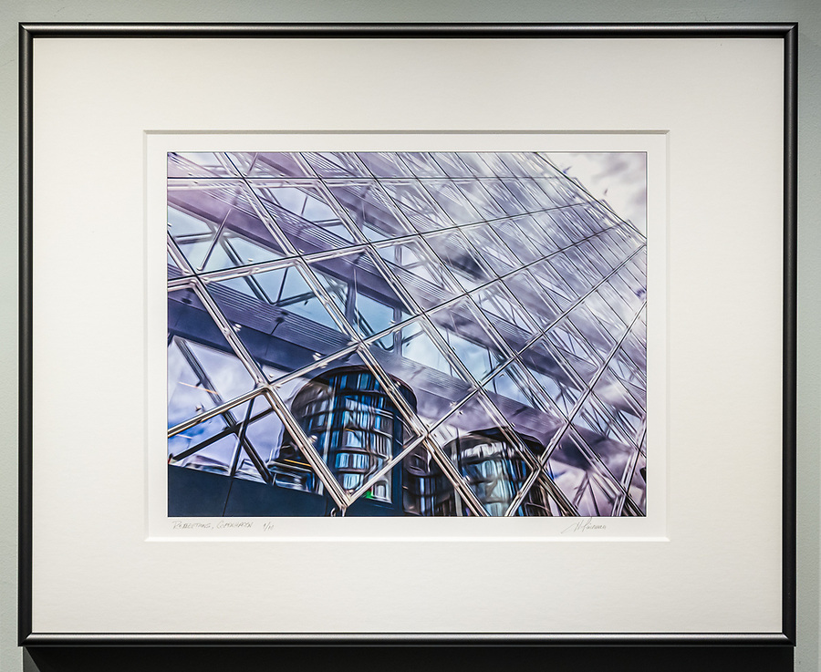 """Framed Size 16""""h x 20""""w, $335<br /> Graphite Nielsen 15 metal frame<br /> with 8-ply mat"""