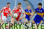 Adam Barry Brosna in action against Martin Carey John Mitchels inthe Junior Football All Ireland Club Final in Croke Park on Saturday.
