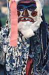 Minehead Dunster Hobby Horse Guisers.  Somerset UK 1970s. Children dressed as Guisers  at Cher on the last evening. This image could be sharper but is here as a reference