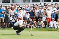 Rory Mcilroy (NIR) lines up his putt on the 18th hole during third round at the Omega European Masters, Golf Club Crans-sur-Sierre, Crans-Montana, Valais, Switzerland. 31/08/19.<br /> Picture Stefano DiMaria / Golffile.ie<br /> <br /> All photo usage must carry mandatory copyright credit (© Golffile | Stefano DiMaria)
