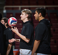 STANFORD, CA - January 17, 2019: Leo Henken, Mason Tufuga at Maples Pavilion. The Stanford Cardinal defeated UC Irvine 27-25, 17-25, 25-22, and 27-25.