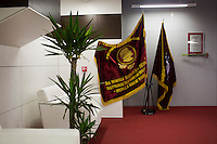 Communist flags stand in the front office of the Vechernyaya Moskva (Evening Moscow) newspaper in Moscow, Russia.