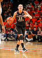 Florida State Seminoles guard Olivia Bresnahan (22) handles the ball during the game against Virginia Jan. 12, 2012 in Charlottesville, Va.  Virginia defeated Florida State 62-52.