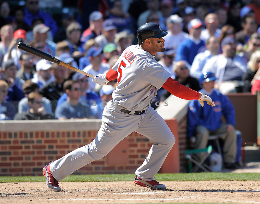 ALBERT PUJOLS, of the St. Louis Cardinals  , in action  during the Cardinals  game against the Chicago Cubs  on April 16, 2009 in Chicago, IL.  The Cubs beat  the Cardinals  8-7  in Chicago,