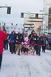 Handlers bring DeeDee Jonrowe's dog team down 4th Avenue to the ceremenial start of the 43rd Annual Iditarod in Anchorage, Alaska. The 1000 mile dog sled race usually restarts in Willow, Alaska, and finishes in Nome. Poor snowfall, however, forced the restart north to Fairbanks.