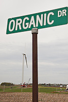 A new wind turbine is seen along Organic Drive near an Organic Valley distribution center in southwestern Wisconsin.