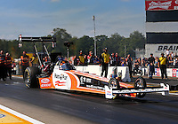 Aug. 17, 2013; Brainerd, MN, USA: NHRA top fuel dragster driver Clay Millican during qualifying for the Lucas Oil Nationals at Brainerd International Raceway. Mandatory Credit: Mark J. Rebilas-
