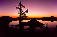 Sunrise view of Crater lake with trees and the center cone. Beautiful purple silhouette and lake like a mirror. foto, reise, photograph, image, images, photo,<br />