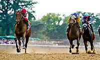 ELMONT, NY - JULY 08: Practical Joke #3, ridden by Joel Rosario, wins the Dwyer Stakes on Stars and Stripes Festival Day at Belmont Park on July 8, 2017 in Elmont, New York (Photo by Scott Serio/Eclipse Sportswire/Getty Images)