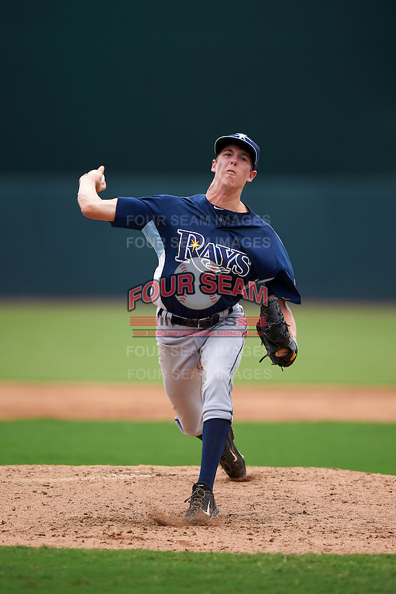 GCL Rays pitcher Tyler Brashears (5) delivers a pitch during the second game of a doubleheader against the GCL Orioles on August 1, 2015 at the Ed Smith Stadium in Sarasota, Florida.  GCL Orioles defeated the GCL Rays 11-4.  (Mike Janes/Four Seam Images)