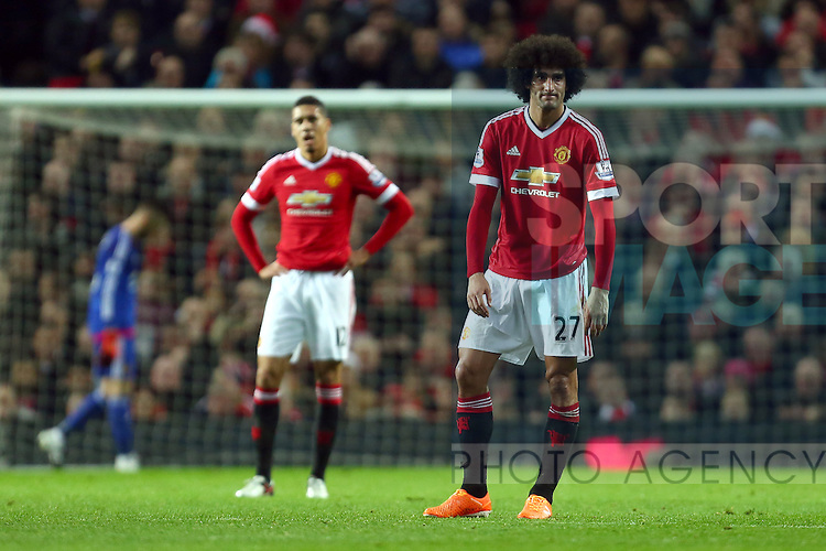 Marouane Fellaini of Manchester United dejected following the opening goal - Manchester United vs Norwich City - Barclays Premier League - Old Trafford - Manchester - 19/12/2015 Pic Philip Oldham/SportImage