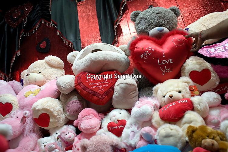 A young Indian shopper is seen at a store specially set up for the valentine day in New Delhi, India. Photo: Sanjit Das