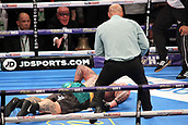 24th March 2018, O2 Arena, London, England; Matchroom Boxing, WBC Silver Heavyweight Title, Dillian Whyte versus Lucas Browne; Lucas Browne lays motionless after being knocked out by Dillian Whyte during the sixth round