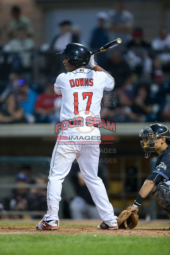 Jeter Downs (17) of the Billings Mustangs at bat against the Missoula Osprey at Dehler Park on August 21, 2017 in Billings, Montana.  The Osprey defeated the Mustangs 10-4.  (Brian Westerholt/Four Seam Images)