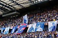Chelsea fans unfurl a mural that shows ex-players now working at the club during the Premier League match between Chelsea and Sheff United at Stamford Bridge, London, England on 31 August 2019. Photo by Carlton Myrie / PRiME Media Images.