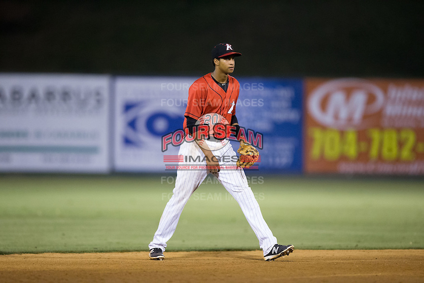 Kannapolis Intimidators shortstop Johan Cruz (20) on defense against the Asheville Tourists at Kannapolis Intimidators Stadium on May 26, 2016 in Kannapolis, North Carolina.  The Tourists defeated the Intimidators 9-6 in 11 innings.  (Brian Westerholt/Four Seam Images)
