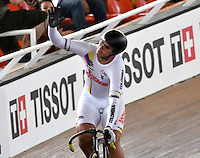 CALI – COLOMBIA – 18-02-2017: Fabian Puerta de Colombia, celebra la clasificación a la siguiente fase durante la prueba Keirin, en el Velodromo Alcides Nieto Patiño, sede de la III Valida de la Copa Mundo UCI de Pista de Cali 2017. / Fabian Puerta of Colombia, celebrates the classification to the next phase during the test Keirin, at the Alcides Nieto Patiño Velodrome, home of the III Valid of the World Cup UCI de Cali Track 2017. Photo: VizzorImage / Luis Ramirez / Staff.