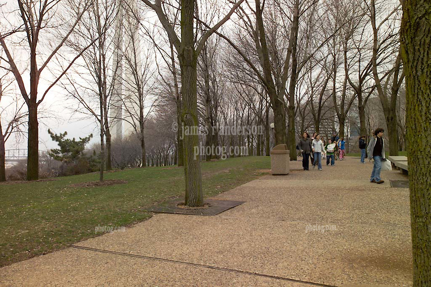 People Strolling at the Saint Louis Gateway Riverside Park