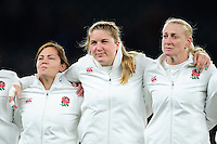 England players sing the national anthem prior to the match. Old Mutual Wealth Series International match between England Women and Canada Women on November 26, 2016 at Twickenham Stadium in London, England. Photo by: Patrick Khachfe / Onside Images