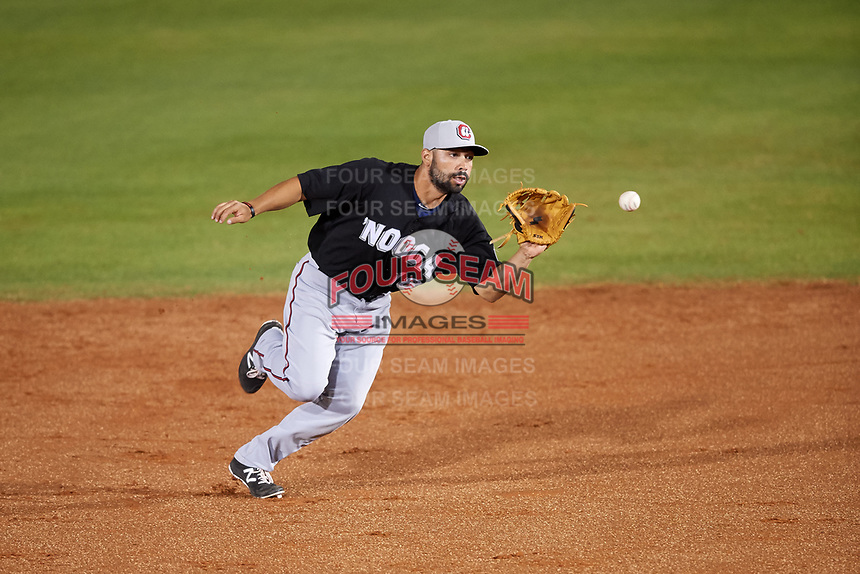 Chattanooga Lookouts second baseman Alex Robles (18) fields a ground ball during a game against the Mobile BayBears on May 5, 2018 at Hank Aaron Stadium in Mobile, Alabama.  Chattanooga defeated Mobile 11-5.  (Mike Janes/Four Seam Images)