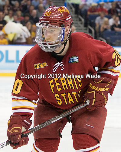 Matthew Kirzinger (FSU - 20) - The Boston College Eagles defeated the Ferris State University Bulldogs 4-1 (EN) in the 2012 Frozen Four final to win the national championship on Saturday, April 7, 2012, at the Tampa Bay Times Forum in Tampa, Florida.